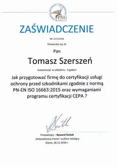 Jak przygotować firmę do certyfikacji usługi ochrony przed szkodnikami zgodnie z normą PN-EN ISO 16663:2015 oraz wymaganiami programu certyfikacji CEPA