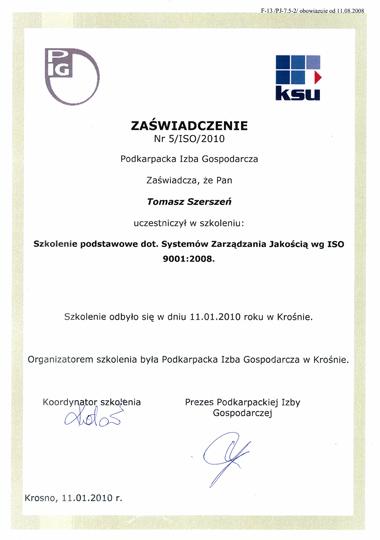 Szkolenie podstawowe dot. systemów zarządzania jakością wg ISO 9001:2008